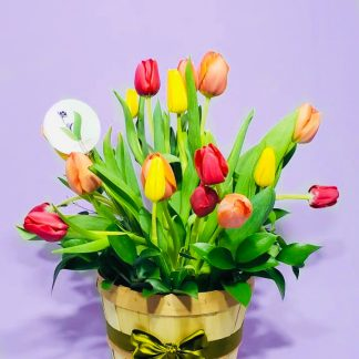 canasta tulipanes